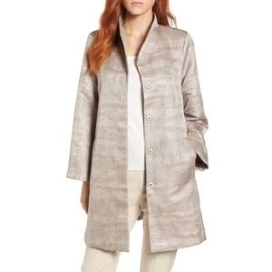 Eileen Fisher Funnel Neck Jacquard Jacket (Petite)